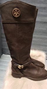 Tory Burch Brown Teresa Coconut Tumbled Leather Gold Reva Tall Riding Boots/Boot